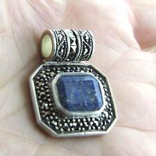 "Vintage Lapis Lazuli Marcasite Pendant 925 Sterling Silver 1.1"""
