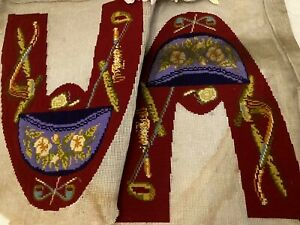 WOW RARE Antique Victorian BERLIN WOOLWORK Tapestry Gents Slippers Tops c.1850's