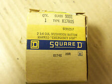 New Square D 2 1/4 DIA Mushroom Button Marked Emergency Stop 9001K17R05 Series F