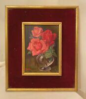 vintage orig. Henry Monnier pink roses botanical flower still life oil painting