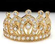 1.00Ct Natural Diamond 14K Solid Yellow Gold Crown Ring
