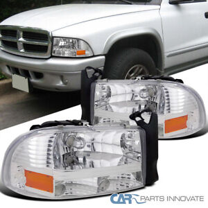 For 97-04 Dodge Dakota Durango Chrome Clear 1PC Headlights Head Lamps Left+Right