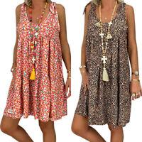 Womens Summer Boho Sleeveless Floral Loose Mini Sun Dress Casual Baggy Plus Size