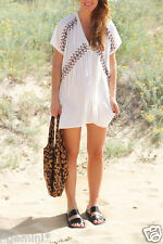 ZARA Embroidered Dress Tunic Blouse Fringes Mini-robe tunique broderie franges