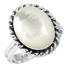 925 Sterling Silver Mother of Pearl Band Ring Size 7