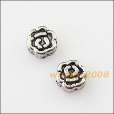 60 New Tiny Rose Flower Charms Tibetan Silver Tone Spacer Beads 5mm