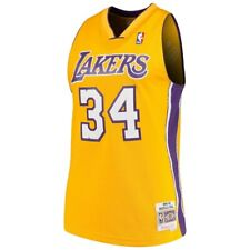Mitchell & Ness NBA Los Angeles Lakers #34 O'neal Yellow Purple Swingman Jersey