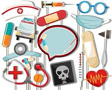 Medical- Doctor & Nurse Photo Booth Props Kit - 20 Pack Party Camera Props Fully