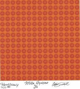 BLOTTER ART ORANGE SUNSHINE Sheet Signed by 3 The Brotherhood of Eternal Love