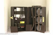 Portable Leatherite Travel Briefcase bar set with 16 accessories and glasses