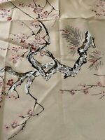 "Vintage Barkcloth  Pink Tree Blossoms fabric 47"" x 80"" Unused Remnant"