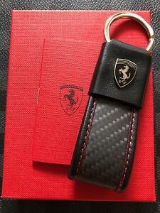 Genuine Ferrari LEATHER AND CARBON FIBER KEYRING Extremely Rare 270054354