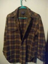 VTG Pendleton brown Shadow Plaid Western Shirt Wool 16 1/2