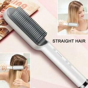 Professional Electric Ceramic Heated Hair Curler Straightening Brush 120-200°C