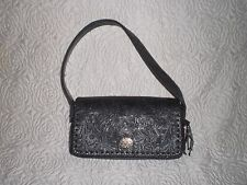 Minnetonka Genuine Tooled Leather Shoulder Bag w/ Decorative Silver Clasp