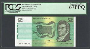 Australia 2 Dollars ND(1985) P43e Uncirculated Graded 67