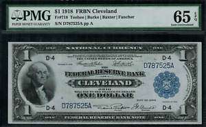 1918 $1 Federal Reserve Bank Note Cleveland FR-718 - PMG 65 EPQ - Gem Unc.