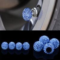 4Pcs Blue Car Rhinestone Tire Valve Caps Diamond Shining Air Caps Accessories
