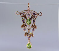 CP438 GENUINE 9k 9ct Rose Gold NATURAL Amethyst & Peridot Pendant Vintage style