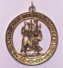 Solid 14k Yellow Gold St Saint Christopher Pendant Charm