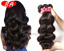 8A 3 Bundles Brazilian Virgin 100% Human Hair Weft Extension Body Wave Black