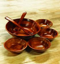 Core Pacific 700757 7pc Wooden Cherry Salad Bowl Set Wood 4 Piece