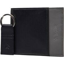Original Penguin Wallet & Keyring Set Mens Bastock Real Leather Black & Grey New
