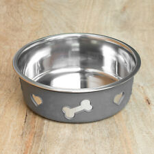 2 x 1.5 Litre Grey Sleeve Large Stainless Steel Dog Bowls Food Water Dish Treat