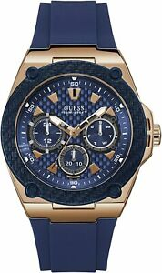 Guess Men's W1049G2 Legacy Blue Silicone Strap With Blue Dial