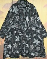 "RALSTON XL Boiled Wool Floral Swing Coat 60""Bust OVERSIZE Mid-Length WINTER WARM"