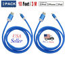 2 Pack 10Ft Lightning Cable Heavy Duty iPhone X 8 7 6 plus Charger Charging Cord