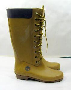 Timberland Rubber Rain Boots Tall Lace-Up Women Size 7