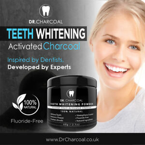 UK's BEST: Activated Charcoal Natural Teeth whitening Powder by DR CHARCOAL 60ML