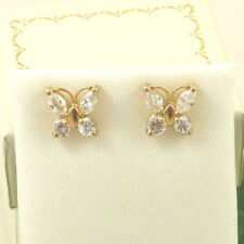 KG5001 Solid 9ct 375 Yellow Gold Butterfly White Cubic Zirconia CZ Stud Earrings