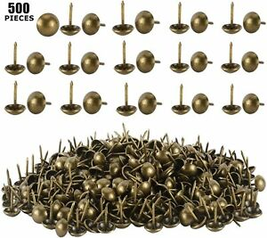 500X Antique Brass Finish Upholstery Nails, Furniture Tacks, Thumb Tack Push Pin