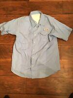 Youth L light blue PFG  columbia fishing shirt