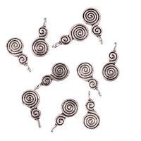 spiral coil double drop Tibetan Silver Bead charms Pendants 17*9mm 10pcs