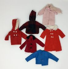 Vintage Lot Of 6 Assorted Doll Jackets Coats Clothing