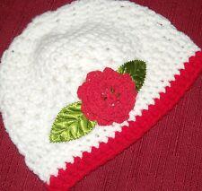 Handmade Crochet Baby Girl Hat White Red Flower 0-3 Monyh Rocky Mountain Marty