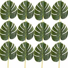 Pack of 12 Artificial 28cm Monstera Leaves - Decorative Swiss Cheese Plant Leaf