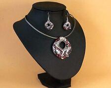 Collier fantaisie+boucles d'oreille-Parure femme rouge-métal argenté-ras-du-cou