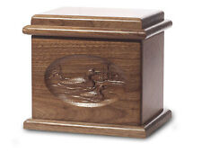 Wood Cremation Urn. Deluxe model with a Black Walnut Finish with Loons Image