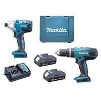 Makita G-Series 18V Li-Ion Batteries & Charger 2-Piece Combi Drill & Driver Set