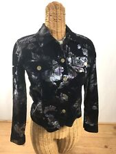 BAMBOO TRADERS Women's Black/Purple/Silver Floral Print Jacket Size PS (2-4)