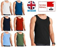 MENS VESTS 100% COTTON TRAINING TANK TOP T SHIRT MESH SLEEVELESS SUMMER GYM VEST