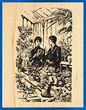 Greenhouse Couple Rubber Stamp by Toybox - Man and Woman Flowers Old Fashioned
