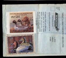 Illinois 1993 Sportsman Hunting & Fish License Rw60 + State Duck Stamp - 669