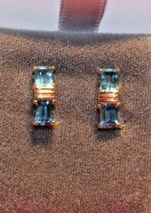14k Blue Topaz  Earrings 2.2 grams