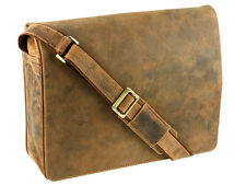 Large Messenger Shoulder Bag Real Leather Tan Visconti Harvard 18548