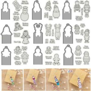 Xmas Animals Gift Tag Label Clear Stamps Coordinated Metal Dies Diy Scrapbooking